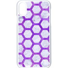 Hexagon2 White Marble & Purple Watercolor (r) Apple Iphone X Seamless Case (white)