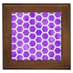 Hexagon2 White Marble & Purple Watercolor Framed Tiles by trendistuff