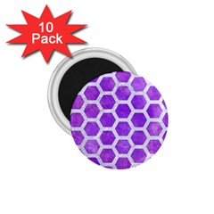 Hexagon2 White Marble & Purple Watercolor 1 75  Magnets (10 Pack)  by trendistuff