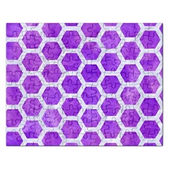 Hexagon2 White Marble & Purple Watercolor Rectangular Jigsaw Puzzl by trendistuff