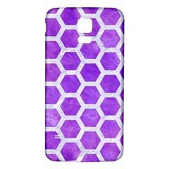 Hexagon2 White Marble & Purple Watercolor Samsung Galaxy S5 Back Case (white) by trendistuff