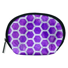 Hexagon2 White Marble & Purple Watercolor Accessory Pouches (medium)  by trendistuff
