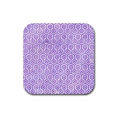 Hexagon1 White Marble & Purple Watercolor (r) Rubber Square Coaster (4 Pack)  by trendistuff