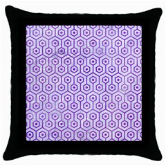 Hexagon1 White Marble & Purple Watercolor (r) Throw Pillow Case (black) by trendistuff