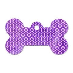 Hexagon1 White Marble & Purple Watercolor Dog Tag Bone (one Side) by trendistuff