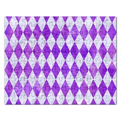 Diamond1 White Marble & Purple Watercolor Rectangular Jigsaw Puzzl by trendistuff