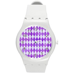 Diamond1 White Marble & Purple Watercolor Round Plastic Sport Watch (m) by trendistuff