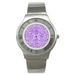Damask2 White Marble & Purple Watercolor (r) Stainless Steel Watch by trendistuff