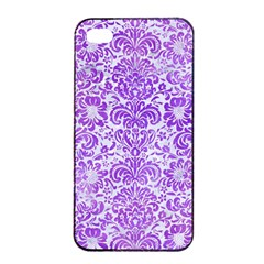 Damask2 White Marble & Purple Watercolor (r) Apple Iphone 4/4s Seamless Case (black)