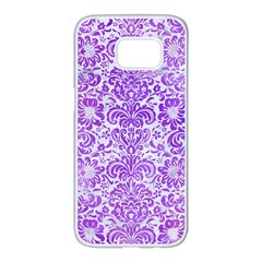 Damask2 White Marble & Purple Watercolor (r) Samsung Galaxy S7 Edge White Seamless Case by trendistuff