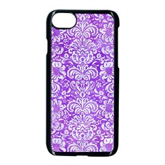 Damask2 White Marble & Purple Watercolor Apple Iphone 8 Seamless Case (black)
