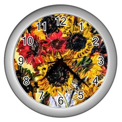 Sunflowers In A Scott House Wall Clocks (silver)
