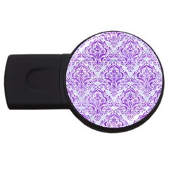 Damask1 White Marble & Purple Watercolor (r) Usb Flash Drive Round (4 Gb) by trendistuff