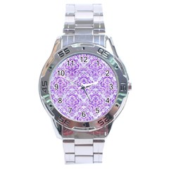 Damask1 White Marble & Purple Watercolor (r) Stainless Steel Analogue Watch by trendistuff