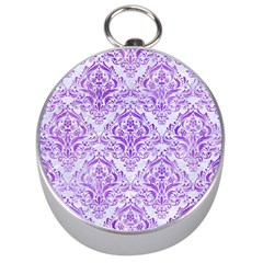 Damask1 White Marble & Purple Watercolor (r) Silver Compasses by trendistuff