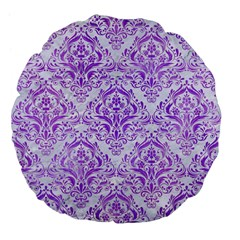Damask1 White Marble & Purple Watercolor (r) Large 18  Premium Flano Round Cushions by trendistuff