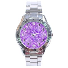 Damask1 White Marble & Purple Watercolor Stainless Steel Analogue Watch by trendistuff