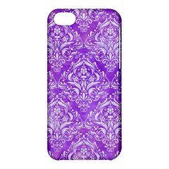 Damask1 White Marble & Purple Watercolor Apple Iphone 5c Hardshell Case by trendistuff