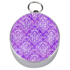 Damask1 White Marble & Purple Watercolor Silver Compasses by trendistuff