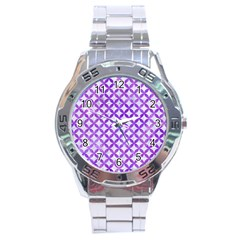 Circles3 White Marble & Purple Watercolor (r) Stainless Steel Analogue Watch by trendistuff