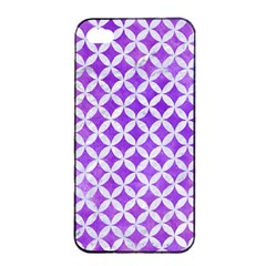 Circles3 White Marble & Purple Watercolor Apple Iphone 4/4s Seamless Case (black) by trendistuff