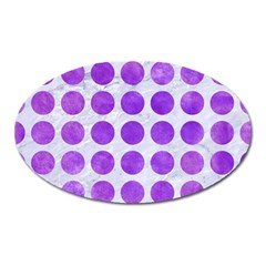 Circles1 White Marble & Purple Watercolor (r) Oval Magnet by trendistuff