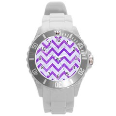 Chevron9 White Marble & Purple Watercolor (r) Round Plastic Sport Watch (l) by trendistuff