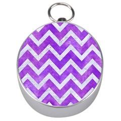 Chevron9 White Marble & Purple Watercolor Silver Compasses by trendistuff