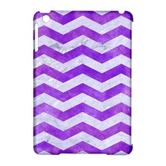Chevron3 White Marble & Purple Watercolor Apple Ipad Mini Hardshell Case (compatible With Smart Cover) by trendistuff