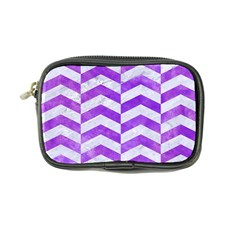 Chevron2 White Marble & Purple Watercolor Coin Purse by trendistuff