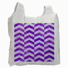 Chevron2 White Marble & Purple Watercolor Recycle Bag (one Side) by trendistuff