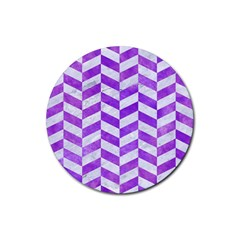 Chevron1 White Marble & Purple Watercolor Rubber Round Coaster (4 Pack)  by trendistuff