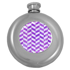 Chevron1 White Marble & Purple Watercolor Round Hip Flask (5 Oz) by trendistuff