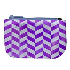 Chevron1 White Marble & Purple Watercolor Large Coin Purse by trendistuff