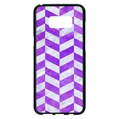 Chevron1 White Marble & Purple Watercolor Samsung Galaxy S8 Plus Black Seamless Case