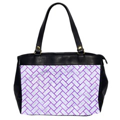 Brick2 White Marble & Purple Watercolor (r) Office Handbags (2 Sides)  by trendistuff