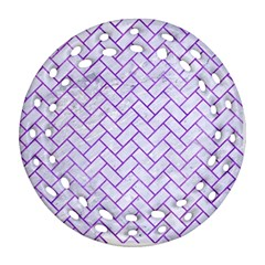 Brick2 White Marble & Purple Watercolor (r) Ornament (round Filigree)
