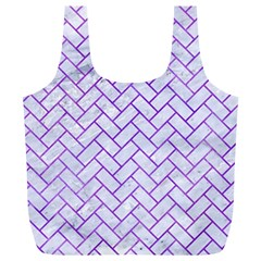 Brick2 White Marble & Purple Watercolor (r) Full Print Recycle Bags (l)  by trendistuff
