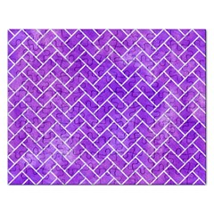 Brick2 White Marble & Purple Watercolor Rectangular Jigsaw Puzzl by trendistuff