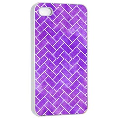 Brick2 White Marble & Purple Watercolor Apple Iphone 4/4s Seamless Case (white) by trendistuff