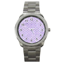 Brick1 White Marble & Purple Watercolor (r) Sport Metal Watch by trendistuff