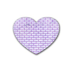 Brick1 White Marble & Purple Watercolor (r) Heart Coaster (4 Pack)  by trendistuff