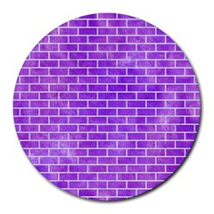 Brick1 White Marble & Purple Watercolor Round Mousepads by trendistuff