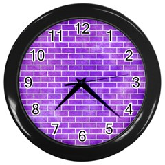 Brick1 White Marble & Purple Watercolor Wall Clocks (black)