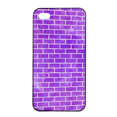 Brick1 White Marble & Purple Watercolor Apple Iphone 4/4s Seamless Case (black)