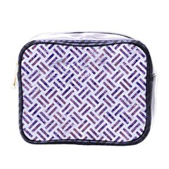 Woven2 White Marble & Purple Marble (r) Mini Toiletries Bags by trendistuff