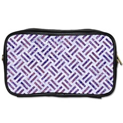 Woven2 White Marble & Purple Marble (r) Toiletries Bags 2 Side by trendistuff