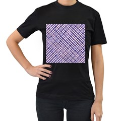 Woven2 White Marble & Purple Marble Women s T Shirt (black) by trendistuff