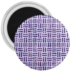 Woven1 White Marble & Purple Marble (r) 3  Magnets by trendistuff