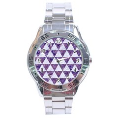 Triangle3 White Marble & Purple Marble Stainless Steel Analogue Watch by trendistuff
